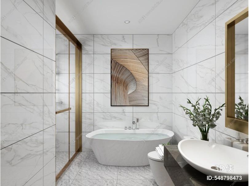 现代书房 琴房 卫生间 浴缸