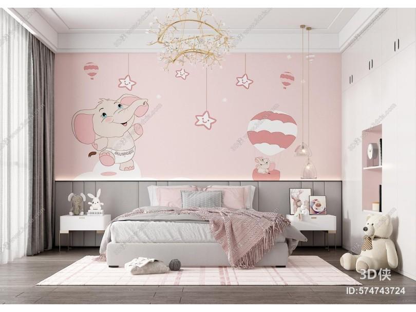 现代儿童房 女儿房 双人床