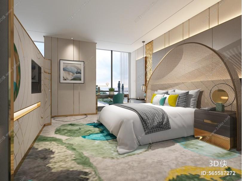 现代卧室 挂画 双人床