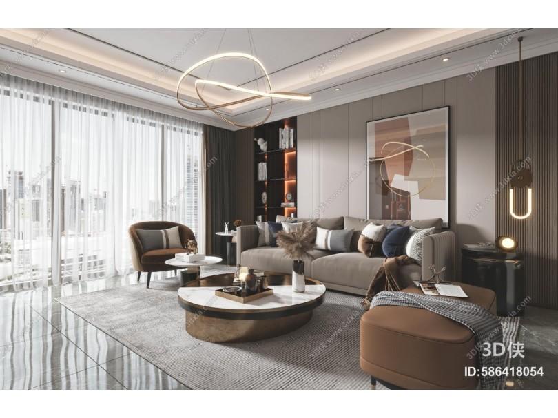 现代客厅 餐厅 沙发 电视柜 吊灯 装饰画