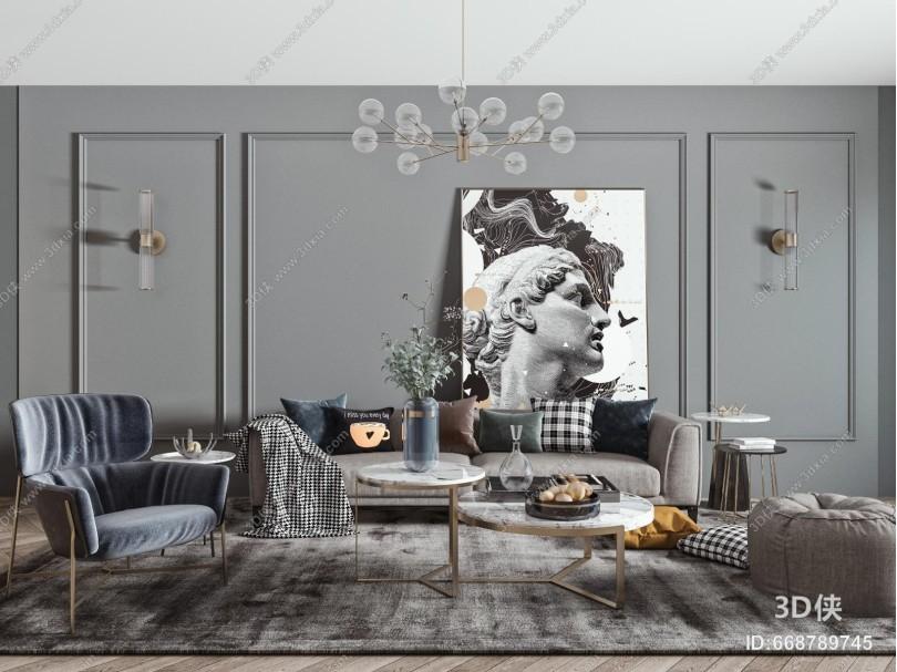 现代沙发 茶几 吊灯组合 多人沙发 单人椅