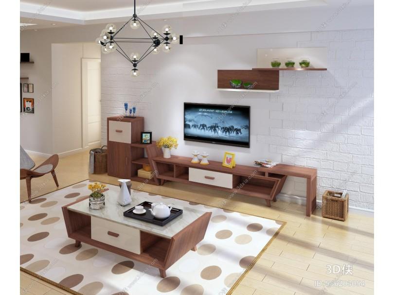 北欧客厅 茶几 电视柜 边柜 壁柜 吊灯