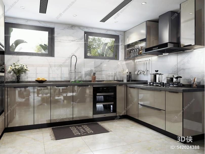 现代厨房 电器 厨房用品 水槽 洗碗机 蒸烤箱
