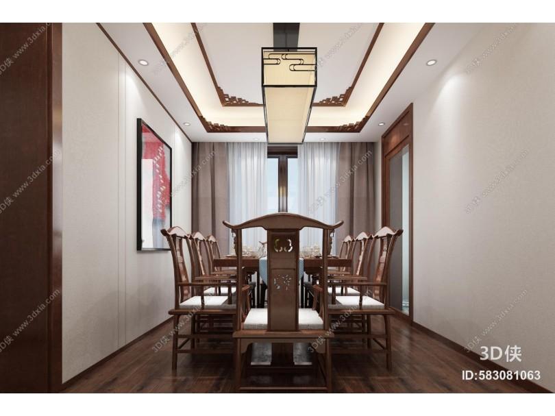 中式客餐厅 吊灯 挂画