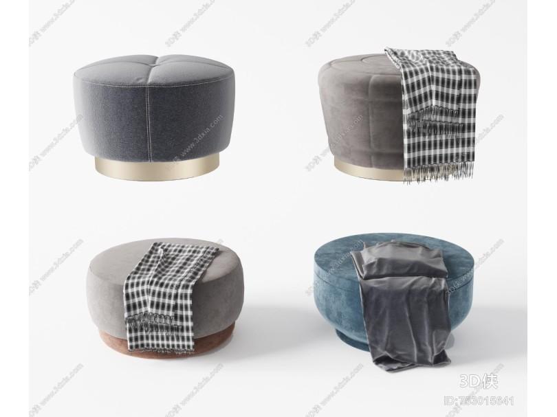 现代布艺床尾凳 沙发凳组合