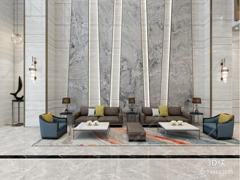 现代轻奢酒店大堂 电梯间 水晶灯 沙发