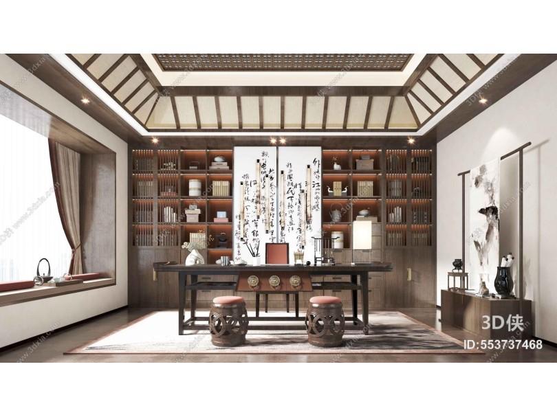 新中式书房 书架 书桌
