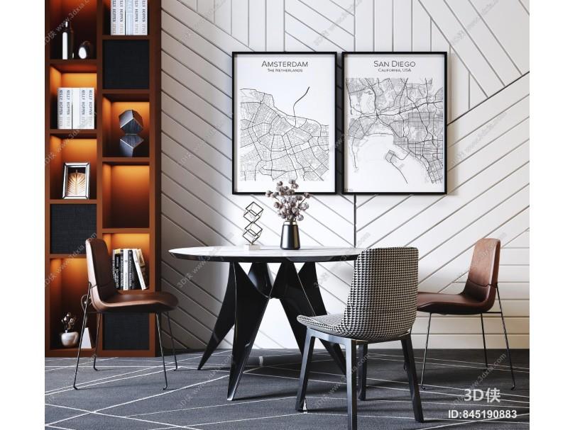 现代轻奢圆形餐桌椅 挂画