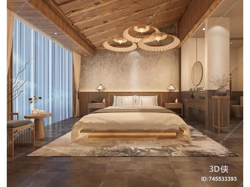 新中式民宿卧室