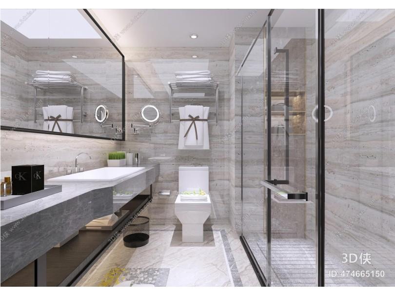 现代风格卫生间 五金件 卫浴隔断