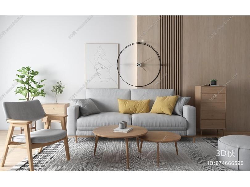 北欧客厅 双人沙发 茶几 盆栽