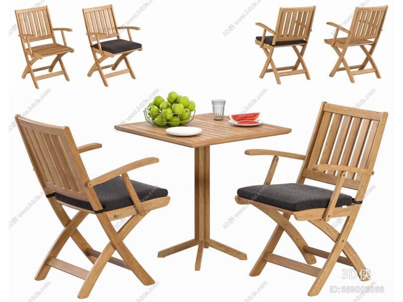 现代户外实木桌椅组合