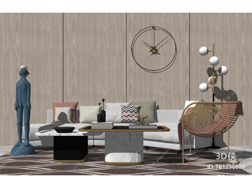 现代沙发茶几组合 雕塑