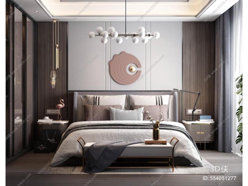 现代轻奢卧室 床头背景墙 床具组合