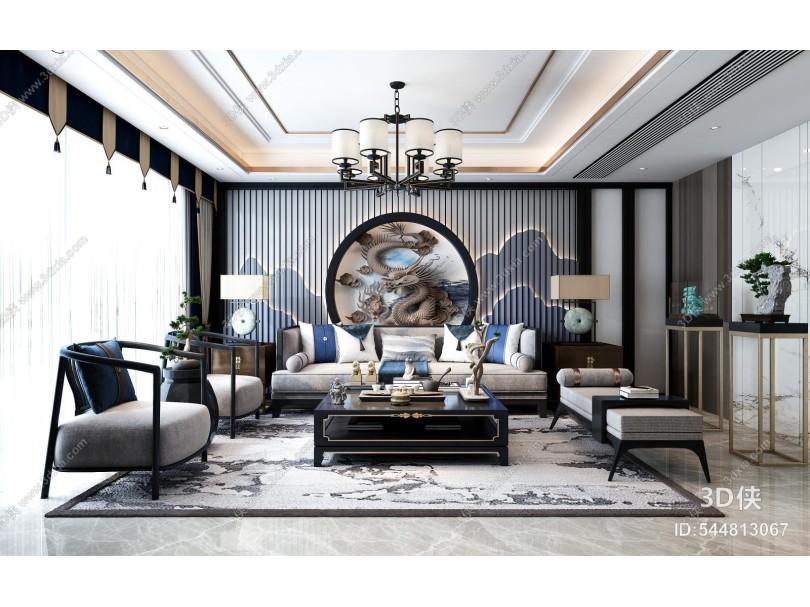 新中式客厅 沙发茶几组合 客厅软装饰 挂画 摆件 灯具