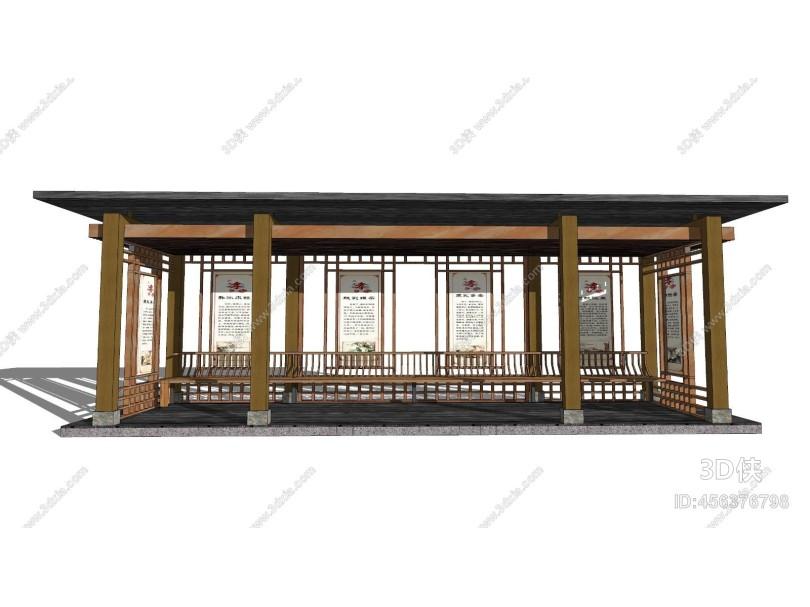 中式风格廊架 座椅 宣传栏