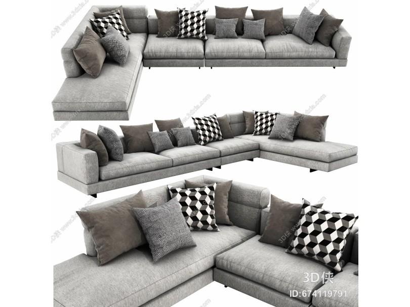 现代布艺转角沙发