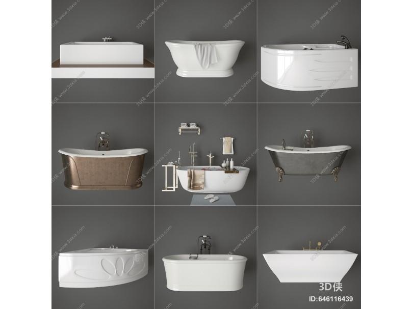 现代浴缸 浴盆 浴池组合