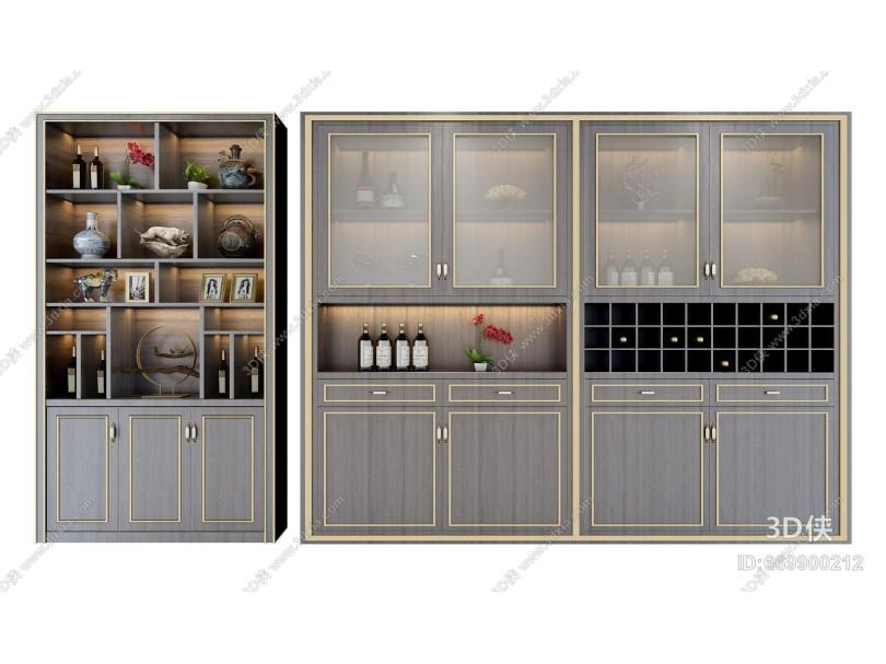 新中式酒柜 装饰柜组合