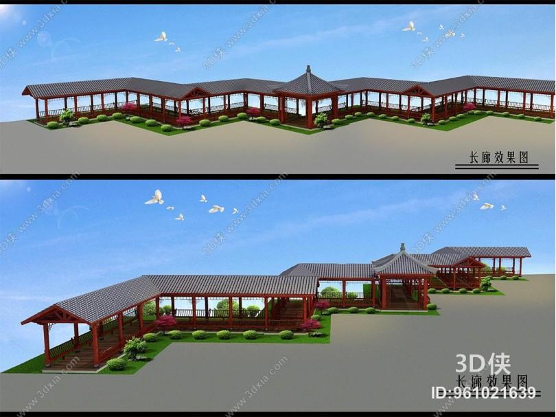中式风格景观小品 休闲长廊