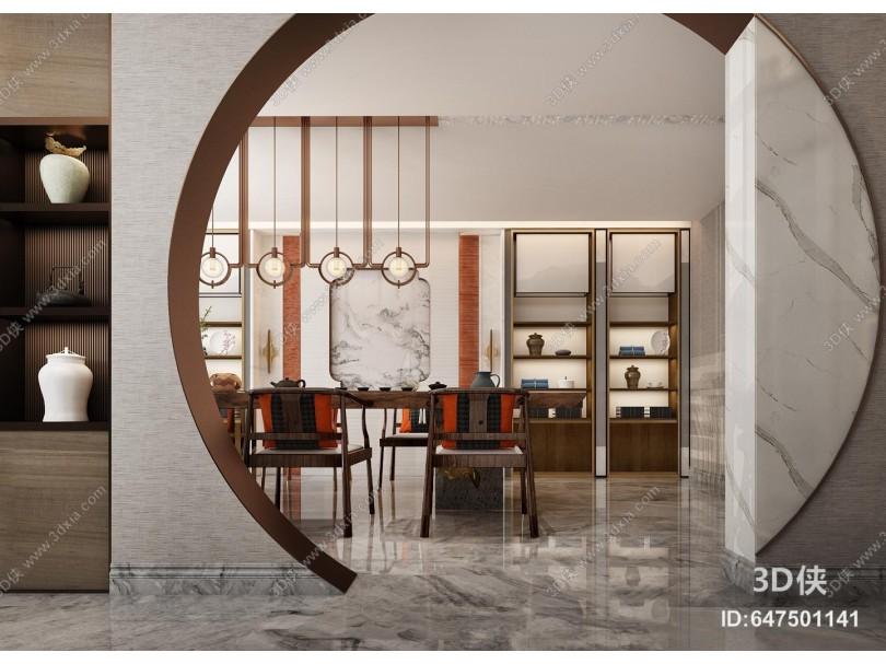 新中式茶室 背景墙 吊灯