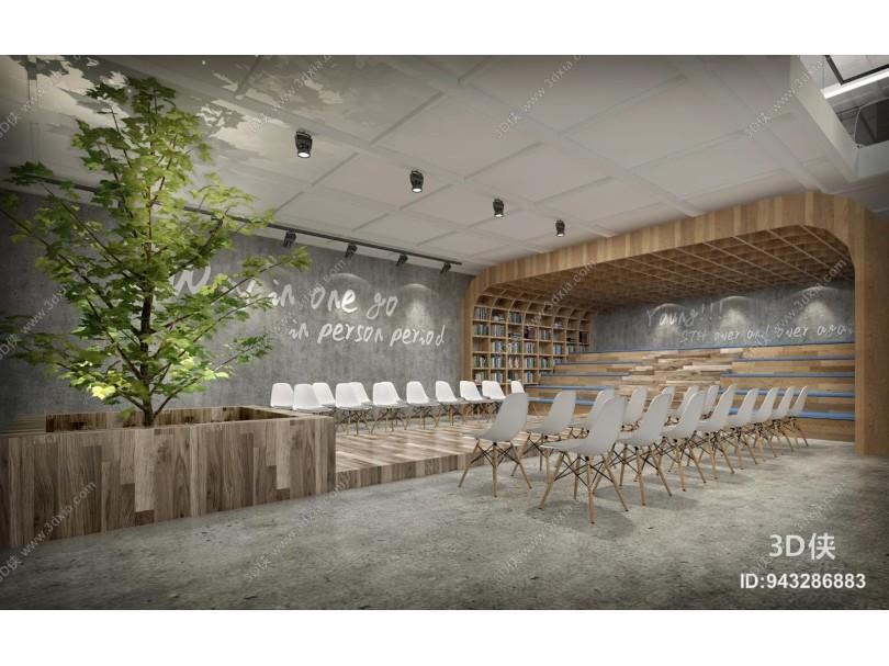 现代风格图书馆 阅读室