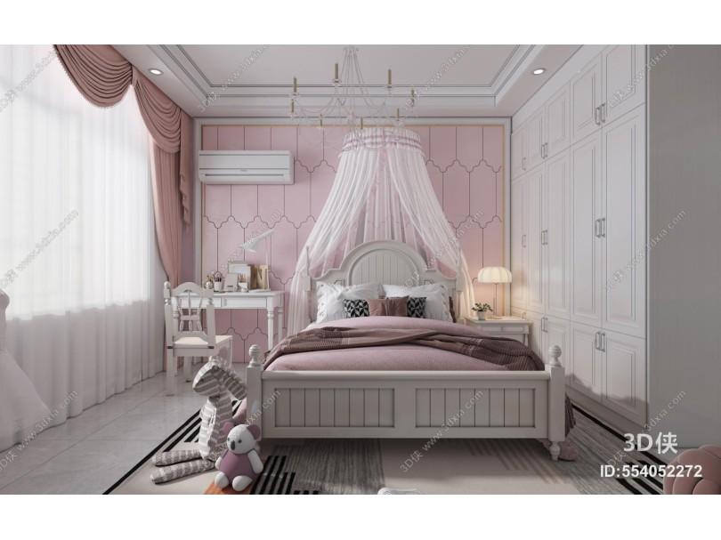 简欧卧室 床头背景墙 床具组合