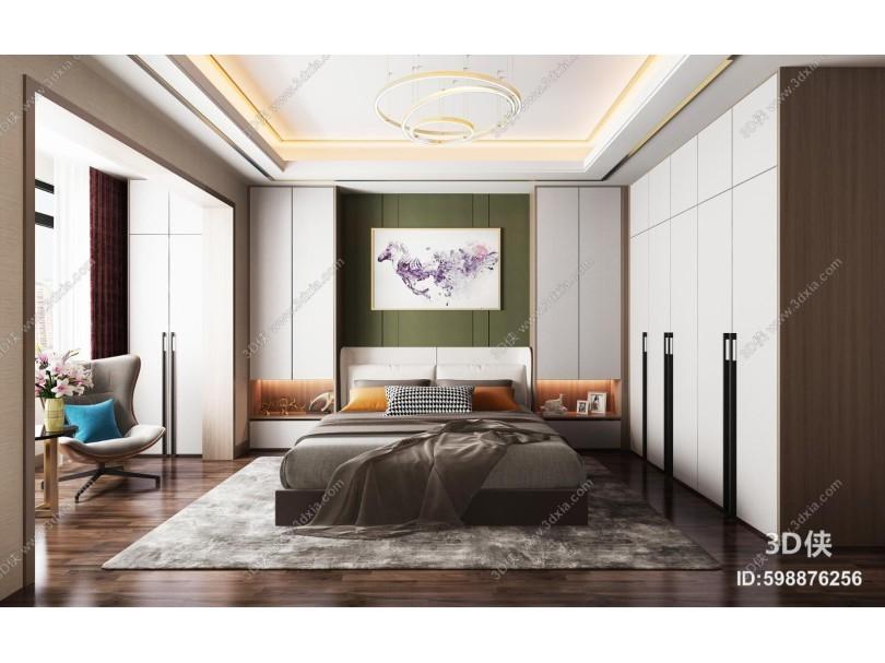 现代卧室 吊灯 挂画