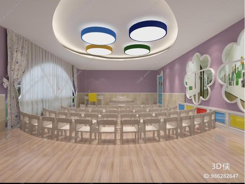 现代幼儿园 活动室 桌椅 灯