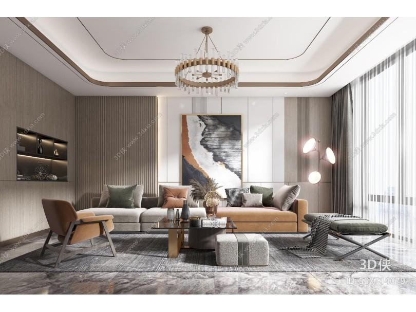 现代风格客厅 沙发 茶几椅子