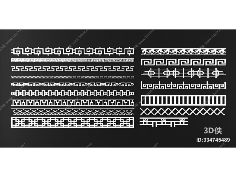 新中式花格线条构件