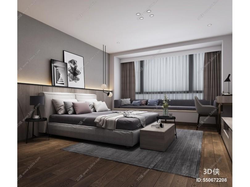 现代简约卧室 装饰画 台灯