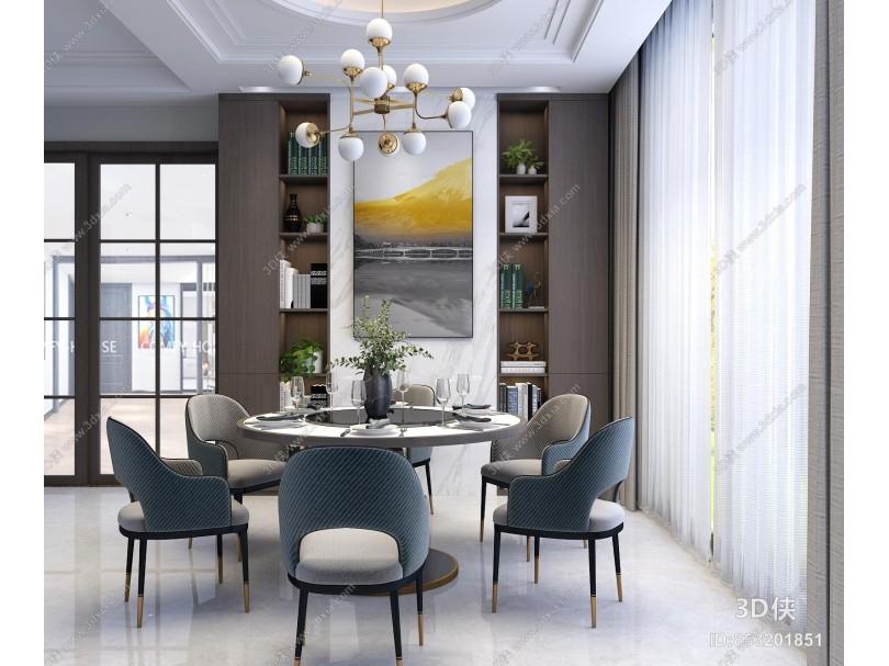 現代簡約輕奢餐桌椅組合
