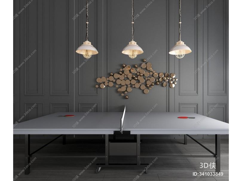 现代乒乓球桌乒乓球室乒乓球台乒乓球拍组合 现代金属吊灯墙饰组合