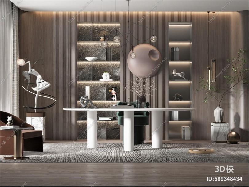 现代风格书房 书桌椅组合 墙饰 盆栽 植物