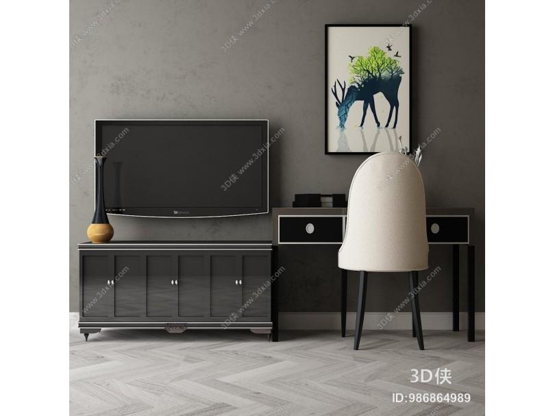 新中式电视柜组合