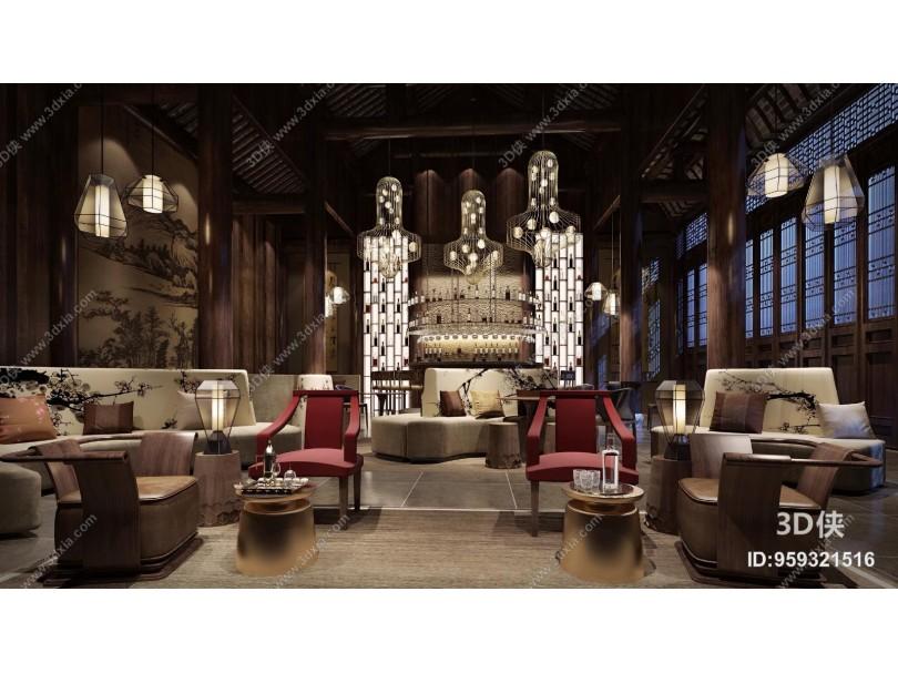 新中式风格接待台大堂 酒店休息区