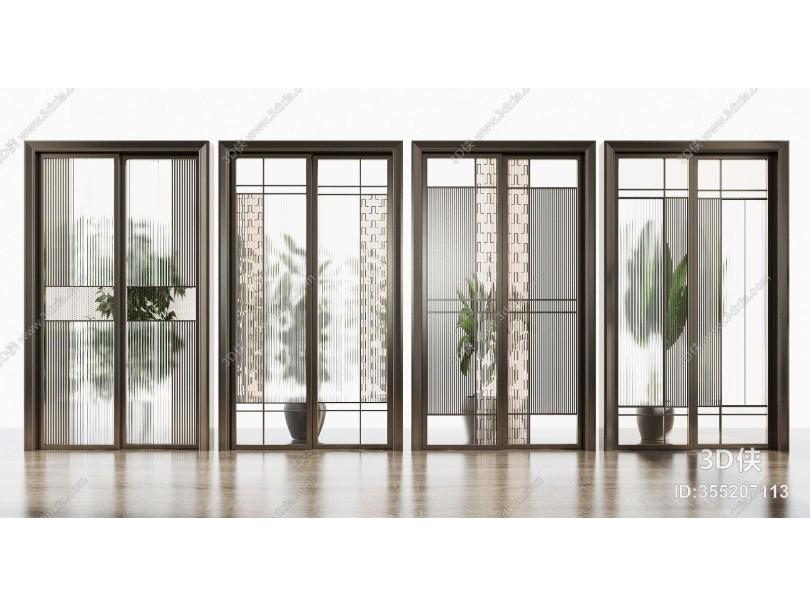 现代铝合金玻璃推拉门