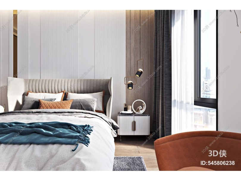 现代轻奢卧室 双人床组合