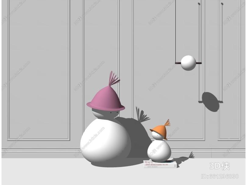 现代摆件 装饰品 雕塑雪人