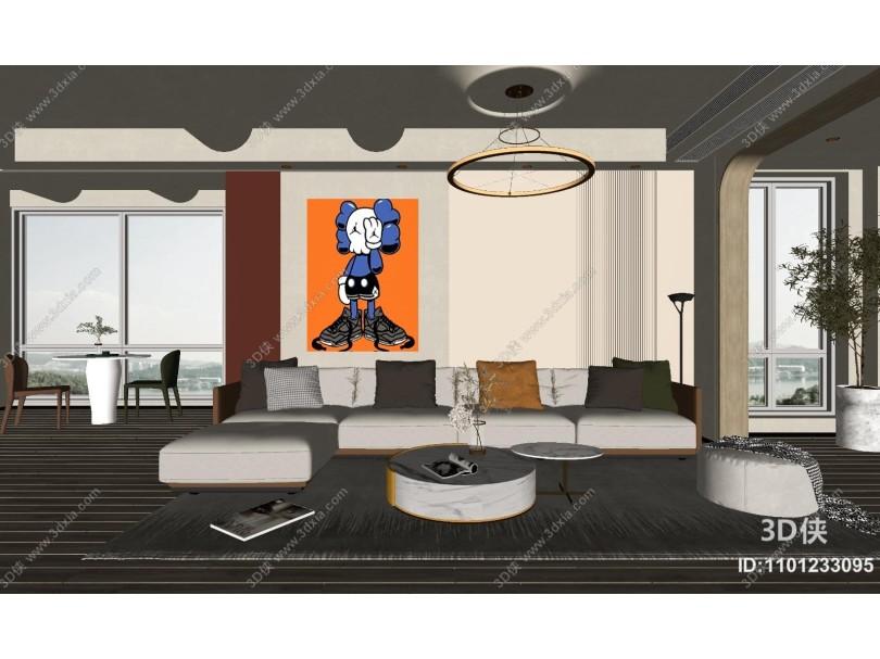 现代客厅 沙发上茶几 吊灯