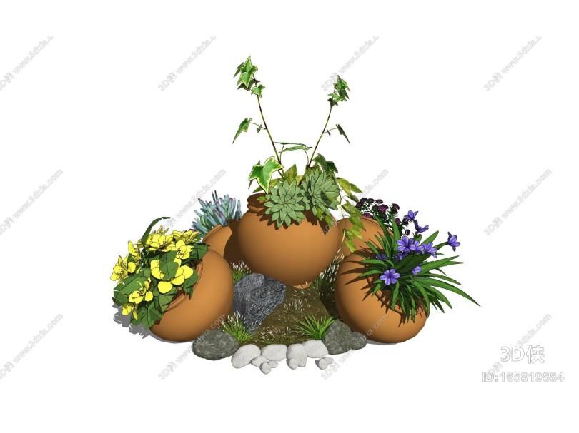 现代盆栽 景观小品 陶罐