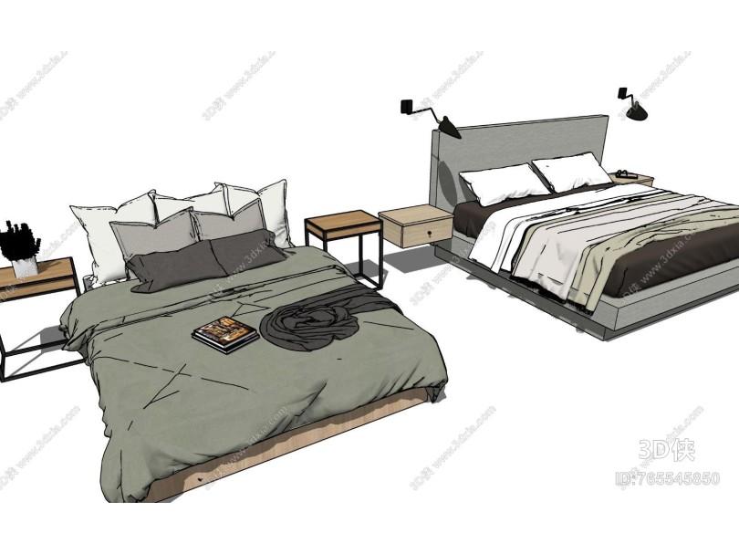 现代床具 床头柜组合
