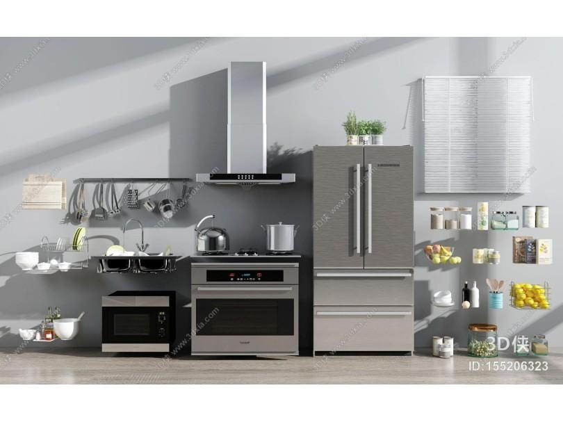 现代厨房电器摆设用品组合