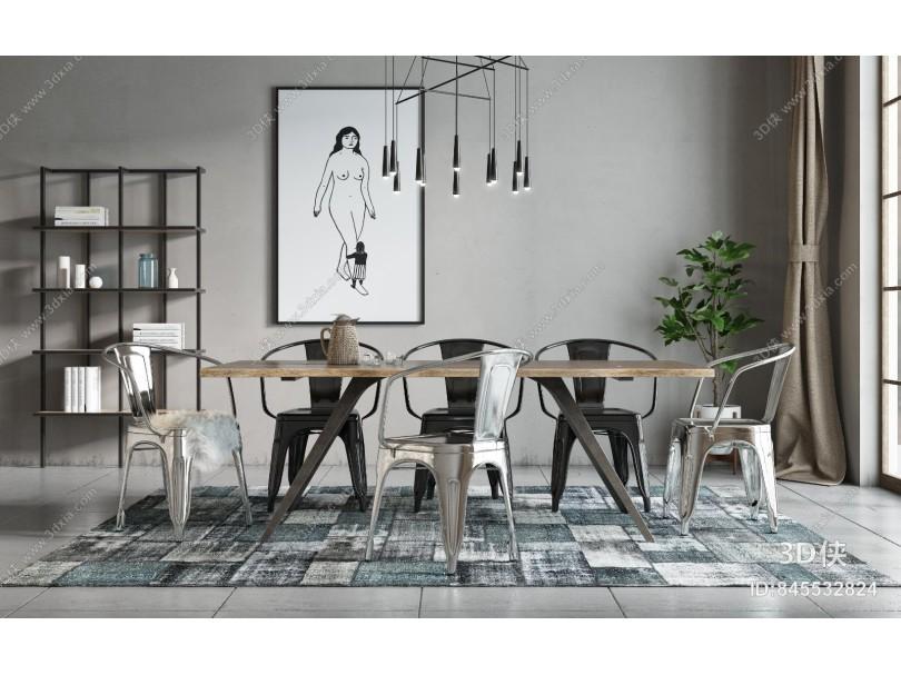 工业风格餐厅 餐桌椅