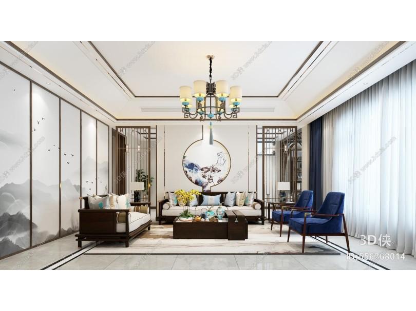 新中式客厅 电视柜 吊灯