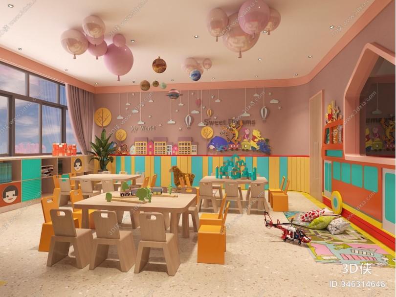 现代幼儿园教室 桌椅 装饰柜