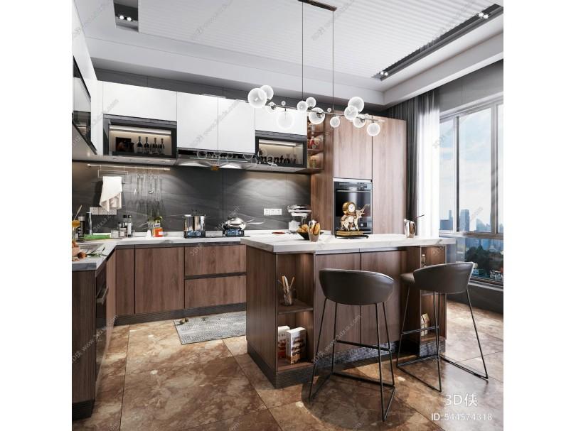现代风格厨房吧台 拼色橱柜 厨房电器 厨房用品 吧台椅 吊灯 装饰品