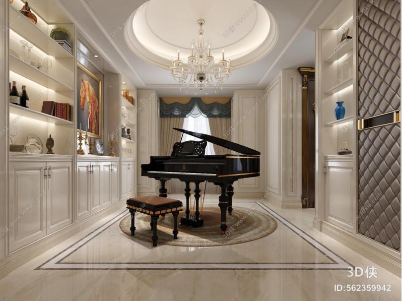 欧式古典休闲娱乐室 钢琴房