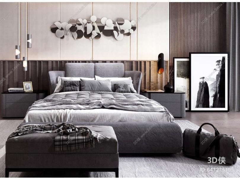 现代床组合 床头柜 吊灯